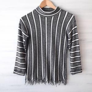 Topshop Raw Fringe Hem Funnel Neck Sweater